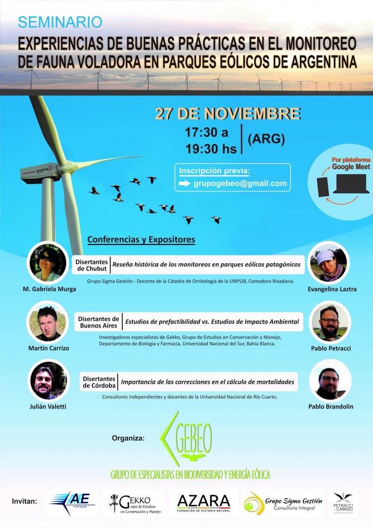 Experiencias de buenas prácticas en el monitoreo de fauna voladora en parques eólicos de Argentina